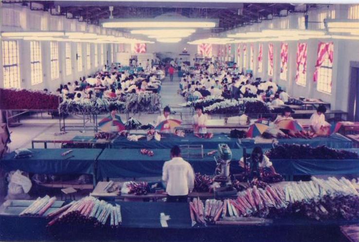 二十世纪九十年代初,农场引进的台资企业久松雨伞厂生产车间一角.jpg